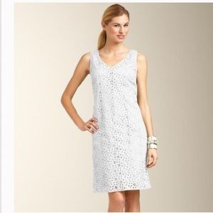 Talbots Floral Eyelet lace Sheath dress White 2